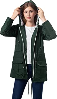 Waterproof Rain Jacket Active Outdoor Windbreaker Hiking Hooded Raincoat Women