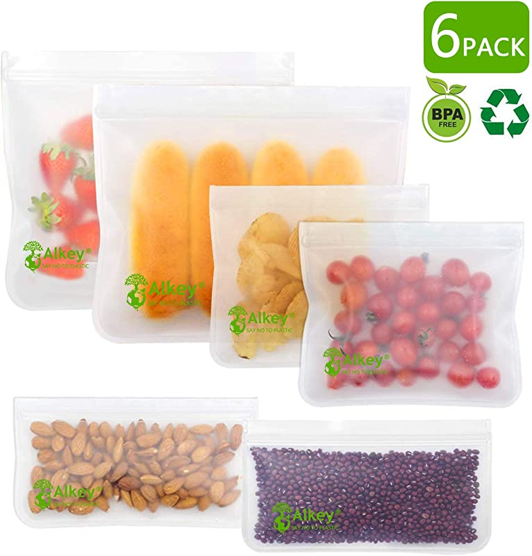 Reusable Storage Bags 6 Pack Transparent Leakproof Freezer Reusable Snack Sandwich Bags 2 Small 2 Medium 2 Large FDA Grade PEVA Ziplock Food Storage Bag For Home Traval Make Up