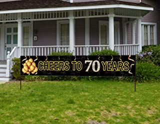 Large Cheers to 70 Years Banner, Black Gold 70 Anniversary Party Sign, 70th Happy Birthday Banner