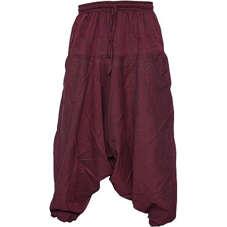 Gheri Men's Light Cotton Drop Crotch Ninja Aladdin Genie Harem Pants Trousers Maroon LXL