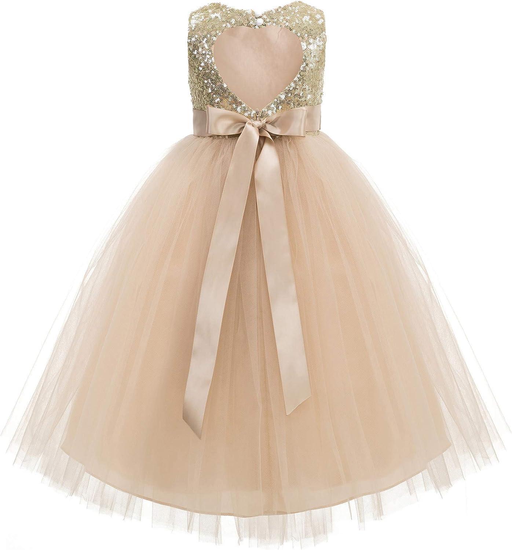 ekidsbridal Heart Cutout Sequin Junior Flower Girl Dress Open Back Dress Christening Dresses