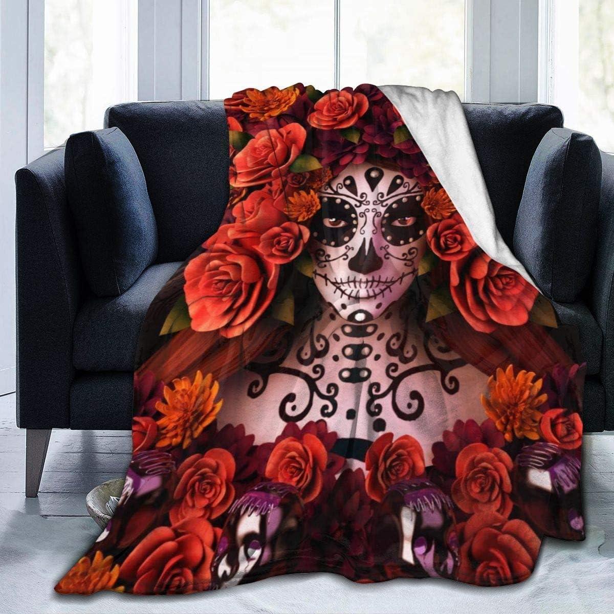 Limited time for free shipping Sugar Skulls Roses Day Of Dead Elegant Blanke Halloween - Fleece Flannel