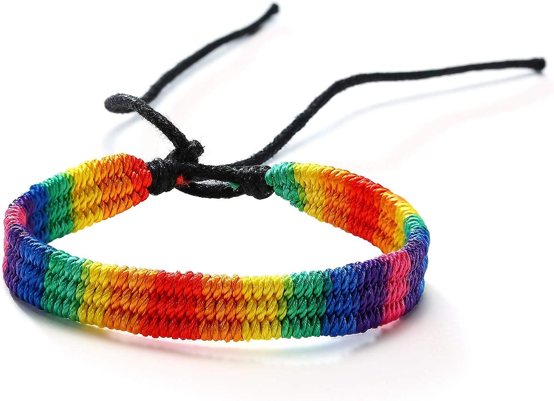 yomlry LGBT Pride Max 73% OFF shopping Bracelet for Gay Agate Black Matte L Lesbian