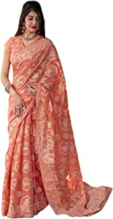 بلوزة ساري حريمي من القطن الناعم التقليدي من Lucknavi باللون البرتقالي الهندي 5770