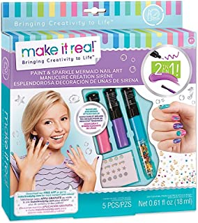 Make It Real - Paint & Sparkle Mermaid Nail Art. Mermaid Nail Polish, Sticker, and Decoration Kit for Girls. Includes Mer...