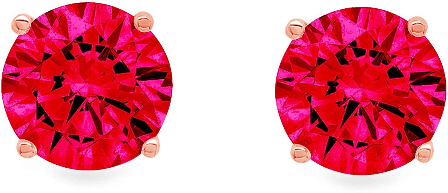 1.0 ct Brilliant Round Cut Solitaire Genuine Pink Tourmaline Gemstone Pair of Designer Stud Earrings Solid 18k Pink Rose Gold Butterfly Push Back
