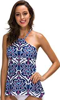 Dailybella Women's High Neck Floral Printed Tankini Top Vintage Padded Backless Swim Tops Swimwear