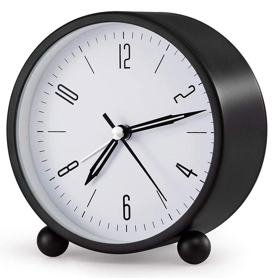 確立します幸運なことに終わり目覚まし時計4インチナイトライト、横バッテリ駆動のスーパーサイレント?アラーム時計、シンプルなデザインのラウンドサイレント?アナログ非刻々と過ぎ、 (Color : ブラック)