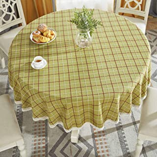 JHLD Round Tablecloth, Lattice Pattern Lace Edge Linen Northern European-Style Table Cloth for Tabletop Decoration-B-79inch