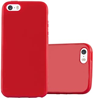 Cadorabo Case Works with Apple iPhone 5 / iPhone 5S / iPhone SE in Jelly RED – Shockproof and Scratch Resistant TPU Silicone Cover – Ultra Slim Protective Gel Shell Bumper Back Skin
