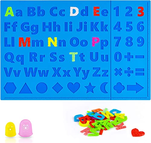 3D Printing Pen Mat for Kids, Siliocne DIY Alphabet Mat Pad with 2 Finger Caps for Boys Girls Educational Interactive...