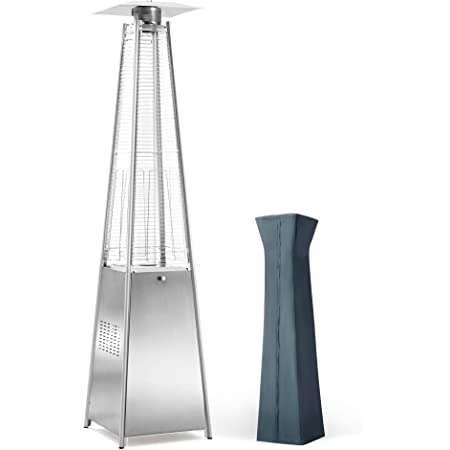 PAMAPIC Patio Heater, 42,000 BTU Pyramid Flame Patio Outdoor Heater wtih Cover, Quartz Glass Tube Stainless Steel Propane Heater with Wheels (Stainless Steel Color)