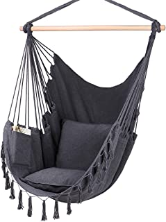 Y- STOP Hammock Chair Hanging Rope Swing-Max 330 Lbs-2 Cushions Included-Large Macrame Hanging Chair with Pocket- Quality ...
