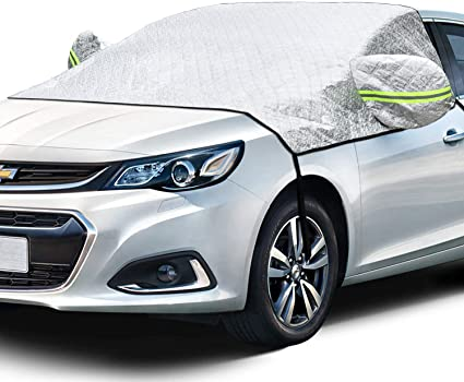 AstroAI Windshield Snow Cover, Car Windshield Cover for Ice and Snow 4-Layer Protection for Snow, Ice, UV and Frost Wiper Mirror Protector Windproof Sunshade Cover for Cars and Compact SUVs: image