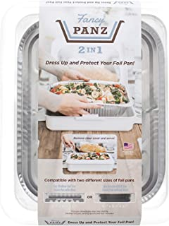 Fancy Panz 2-in-1 USA-Made Portable Casserole Carrier for Shallow and Deep Half Size Foil Steam Pans, Foil Pan and Serving Spoon Included (White)