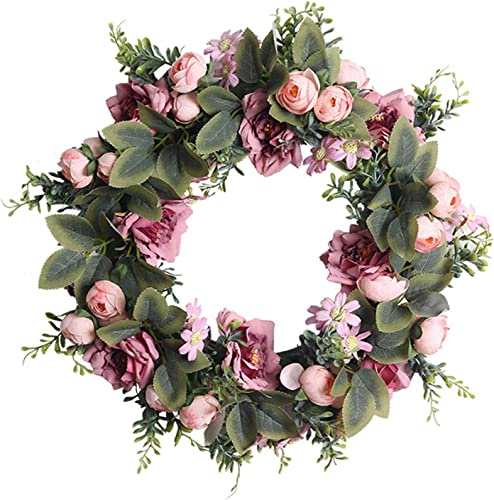 lowest Handmade new arrival Pink outlet sale Peony Wreath Valentines Day Decor Floral Artificial Simulation Garland Wreath Pink Wreath Christmas Wreath Ornament for Home Door Wedding Party Decoration 17 inch sale