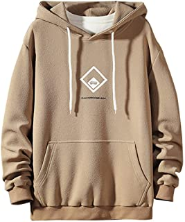 Elogoog Fashion Square Pattern Hoodie for Men Sweatshirt Patchwork Hoodies Cotton Hooded Blouse