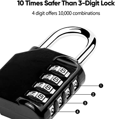 Hedume 4 Pack Combination Lock 4 Digit Padlock, for Gym, Sports, School & Employee Locker, Outdoor, Fence, Hasp and Storage(4