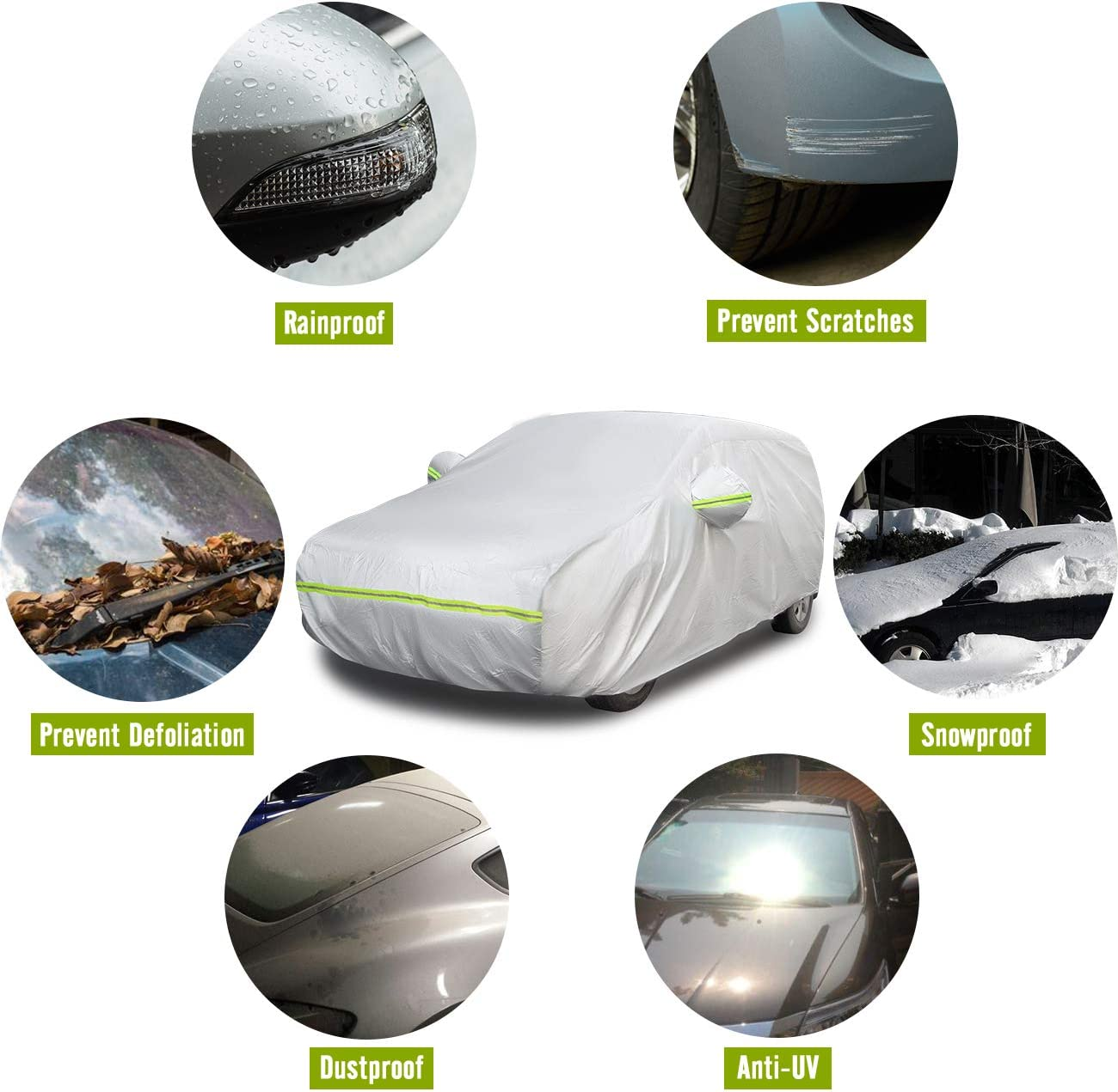 Favoto Car Cover Hatchback Cover 6 Layers Universal Fit 145 to 157 inch Left Side Zipper Design Sun Protection Waterproof Windproof Dustproof Snow Leaves Scratch Resistant Full Exterior Covers
