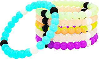 Glow in the Dark Bracelets for Kids Boys Girls Teens 6 PCs Pack - Fluorescent and UV Led Black Light Reactive Silicone Beaded Fortune Bracelet Toy Set - Birthday Party Favors and Supplies
