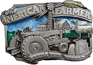 American Farmer Feeds The World Colored Novelty Belt Buckle
