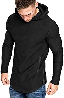Men's Fashion Workout Hoodie Muscle Fit Cotton Blend Gym Sweatshirts Solid Color Athletic Pullover