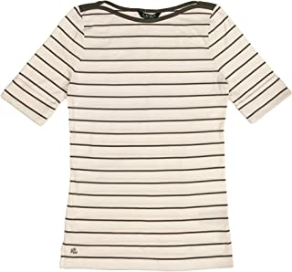 Ralph Lauren Lauren Womens Striped Cotton Boat Neck Top