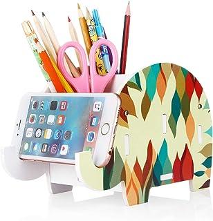 Soporte de teléfono celular, COOLBROS Porta-lápiz de elefante de madera con teléfono Organizador de escritorio de titular (Elefante fuego, L)