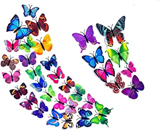 TIYOLAT 84 PCS 3D Butterfly Wall Stickers (7 Colors),DIY Removable Mural Decals,for Nursery Classroom, Office, Kids Bedroo...