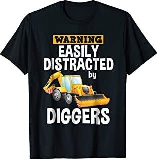 Easily Distracted By Diggers Backhoe Loader T-Shirt