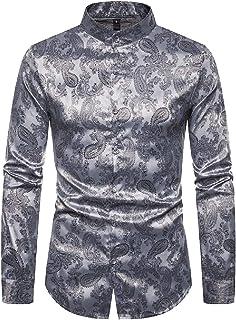 mydeshop Men Regular Fit Long Sleeve Shiny Silk Like Satin Dance Prom Luxury Dress Shirt Tops