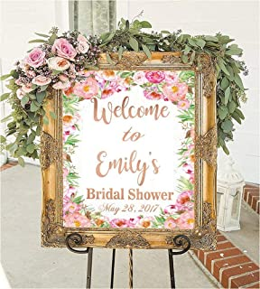 Personalized Bridal shower signs welcome to our wedding decorations games frame favors sign in ideas gift for bride banner rustic wedding decor brides to be floral flowers