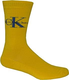 Calvin Klein Jeans Logo Soft Cotton Rib Men's Socks, Yellow One Size