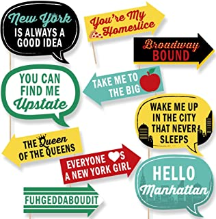 Big Dot of Happiness Funny New York - Photo Booth Props Kit - 10 Piece