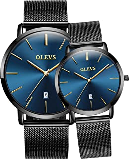 Couples Watches for Him and Her - Ultra Thin Quartz Analog Women's and Men's Wrist Watches - Lovers Wedding Gift Set of 2