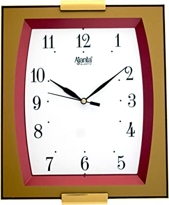 Ajanta Square Wall Clock for Home and Office(Red, Step Movement)