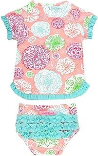 RuffleButts Little Girls UPF 50+ 2-Piece Short Sleeve Rash Guard Bikini w/Ruffles
