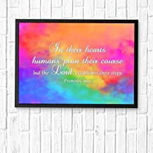HaiGuoQu in Their Hearts Humans Plan Their Course, but The Lord establishes Their Steps,Wall Décor, Religious Bible Verses Inspire Poster Wall Art Prints Framed 16x12in