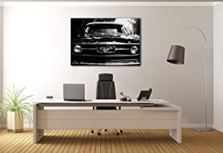 Paints & Prints Canvas Wall Art Classic Ford Mustang Black and White 1968 Canvas Prints Decor/Home Stretched Gallery Canvas Wrap Giclee Print Ready to Hang (12