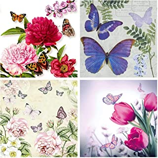 The Tissue Store Decoupage Paper Napkin for Craft 4 Sheets - Butterflies (6) Theme