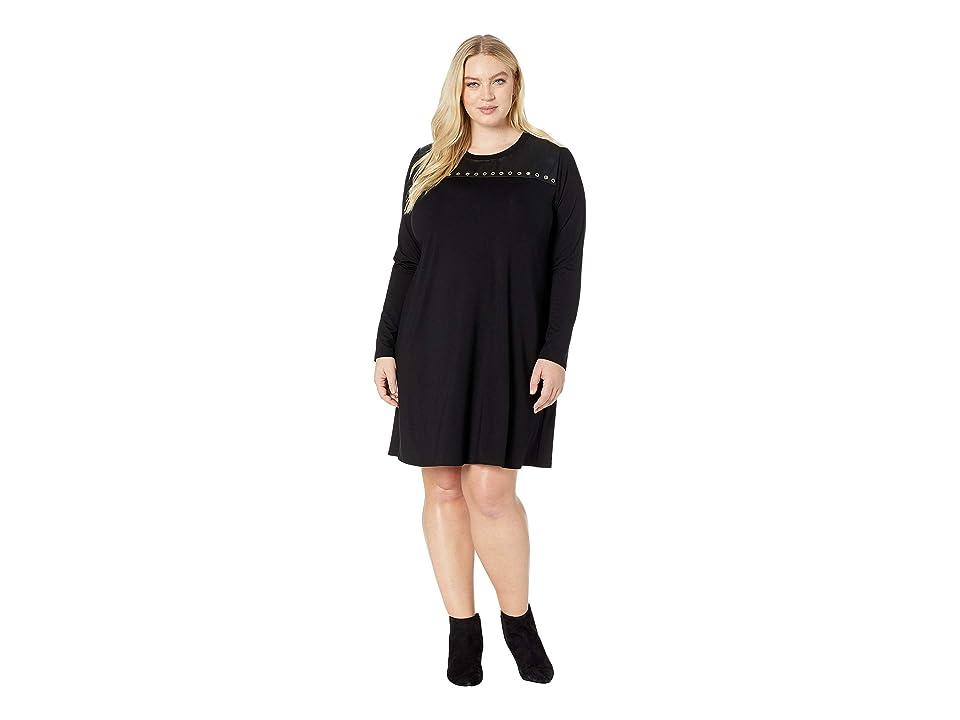Karen Kane Plus Plus Size Studded A-Line Dress (Black) Women