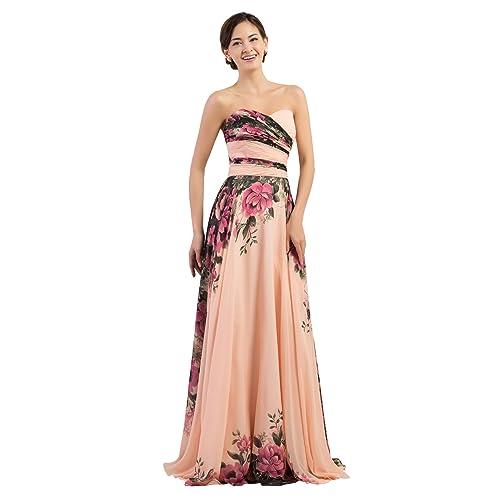 6f51d395f5e0 GRACE KARIN Floral Print Graceful Chiffon Prom Dress for Women  (Multi-Colored)