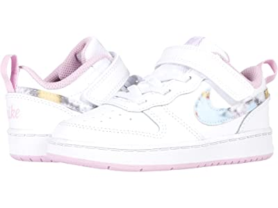Nike Kids Court Borough Low 2 (Infant/Toddler) (White/Multicolor/Light Arctic Pink) Girls Shoes