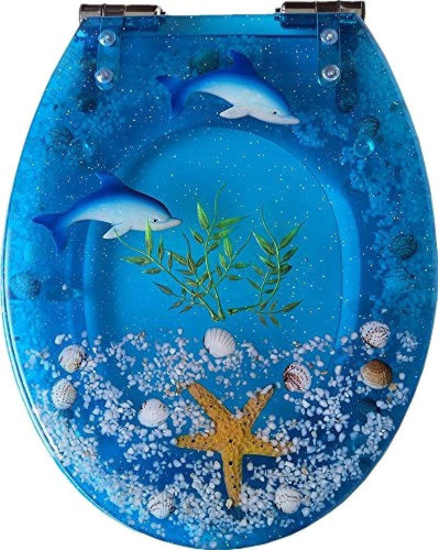YLFW Ocean Series Art WC-Sitz Aus Kunstharz Mit Deckel Und 3D-Effekten Hochleistungs-WC-Deckel Mit Delfin Seestern Echten Muscheln Und Sand Für WCs Vom Typ U V O,B