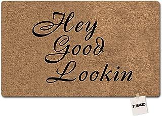 SGBASED Door Mat Welcome Mat Hey Good Lookin Doormat Entrance Floor Mat Rubber Non Slip Backing Entry Way Doormat Non-Woven Fabric (30 X 18 Inches)