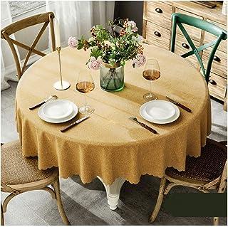 Gamvdout Élégant et Simple Nappe Ronde Jaune imperméable Simple Moderne Couleur Solide Table Ronde Tissu Hotel Couvre-Tape...