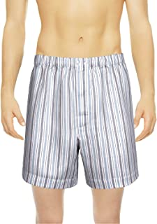 Men's Striped Boxer Shorts, Luxurious Soft Sheen Linen Cotton Sateen Underwear, Masterfully Crafted in Europe