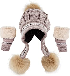 Bellady Women Winter Crochet Knit Ski Warm Beanie Pom Ball Hat