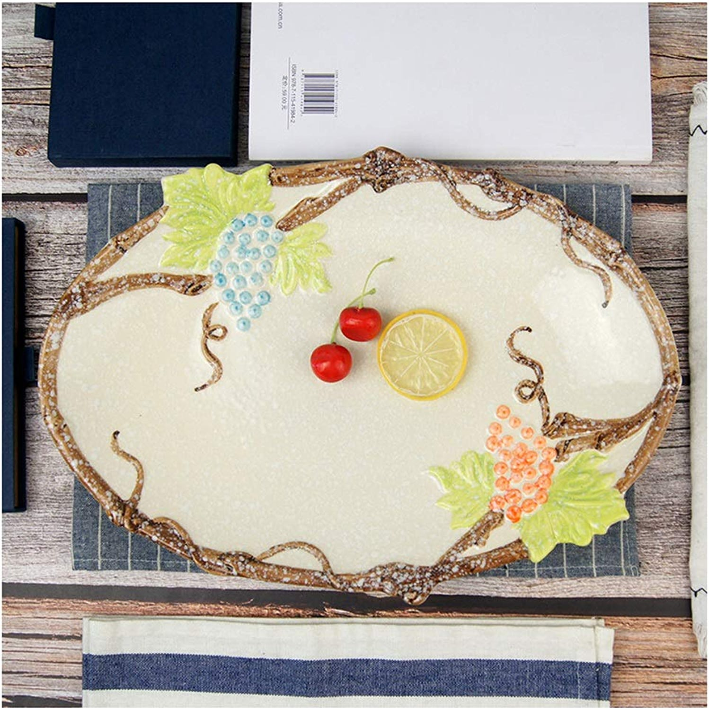 Plateau De Fruits, Assiette De Fruits Décoration Céramique Créative Rectangulaire en Céramique Japonaise (Couleur   A)