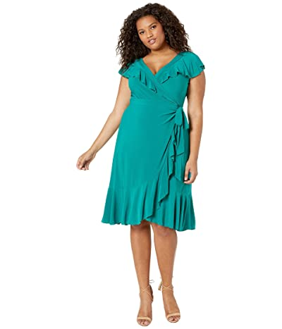 Kiyonna Phoebe Flounce Wrap Dress (Peacock Jade) Women